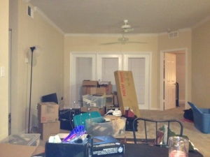 What it looked like before I went on a rampage and unpacked everything in one day