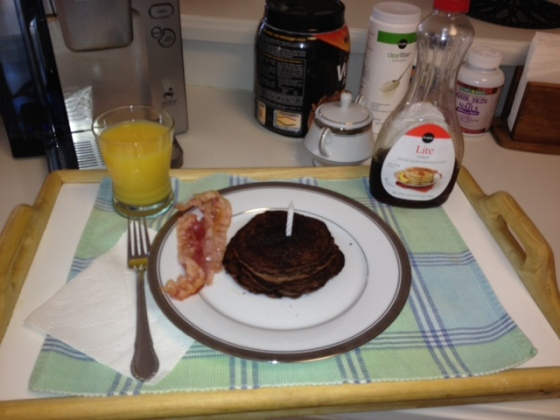Chocolate pancakes, bacon, and OJ. Power 30th breakfast