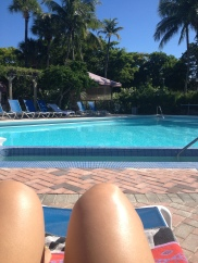 by the pool, not hating it in November