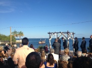 the arrival of the bridal party on the African Queen