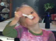 Samantha with her cake