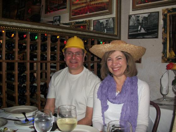 Hats at a Birthday Dinne
