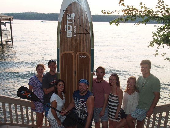 the whole gang with the paddleboard