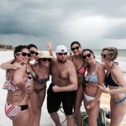 the man of the hour surrounded by beautiful women...tough life
