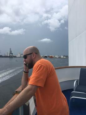 taking a work call on our departure
